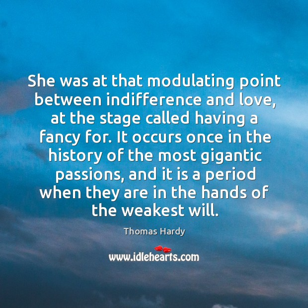 She was at that modulating point between indifference and love, at the Image