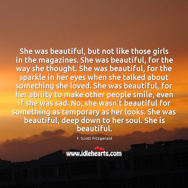She was beautiful, but not like those girls in the magazines. She Image
