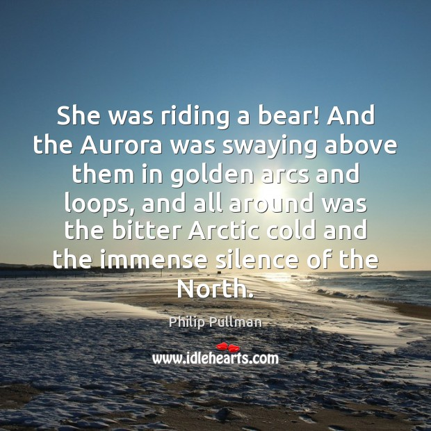 She was riding a bear! And the Aurora was swaying above them Image