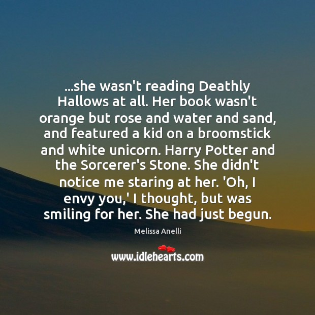 …she wasn't reading Deathly Hallows at all. Her book wasn't orange but Image
