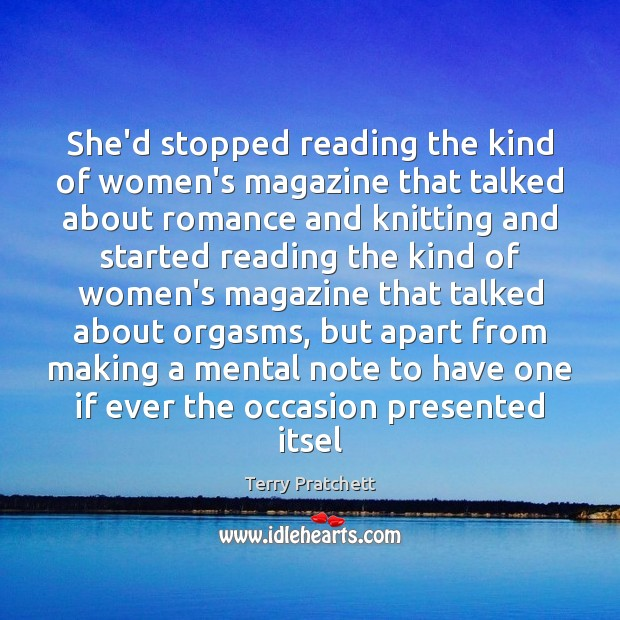 She'd stopped reading the kind of women's magazine that talked about romance Image