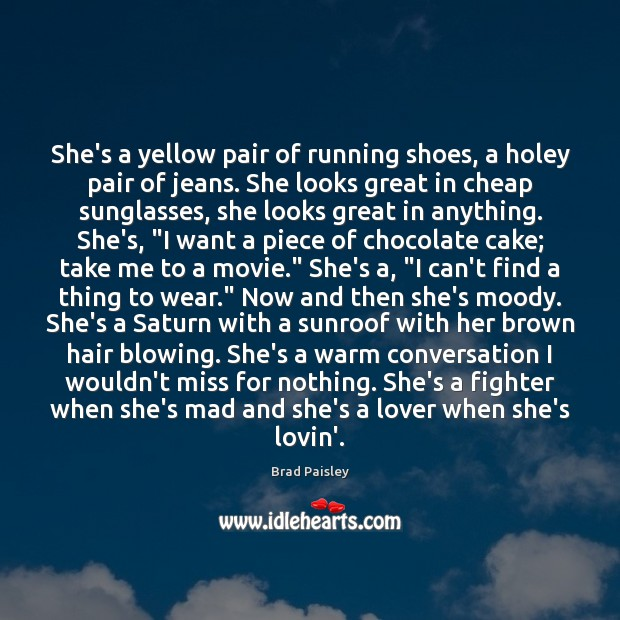 Image, She's a yellow pair of running shoes, a holey pair of jeans.