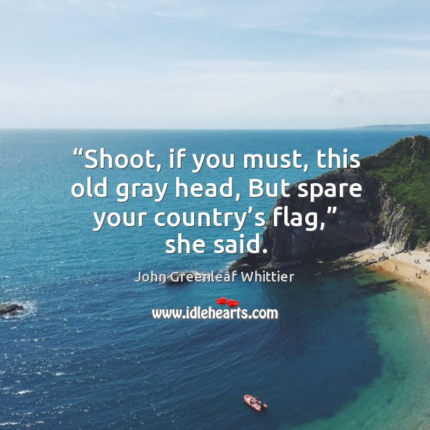 Image, Shoot, if you must, this old gray head, but spare your country's flag, she said.