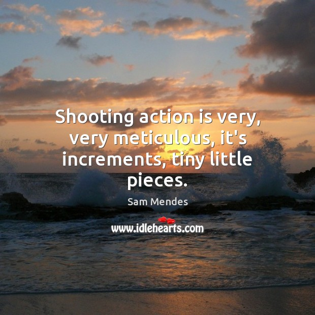 Shooting action is very, very meticulous, it's increments, tiny little pieces. Image