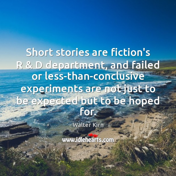 Short stories are fiction's R & D department, and failed or less-than-conclusive experiments Image