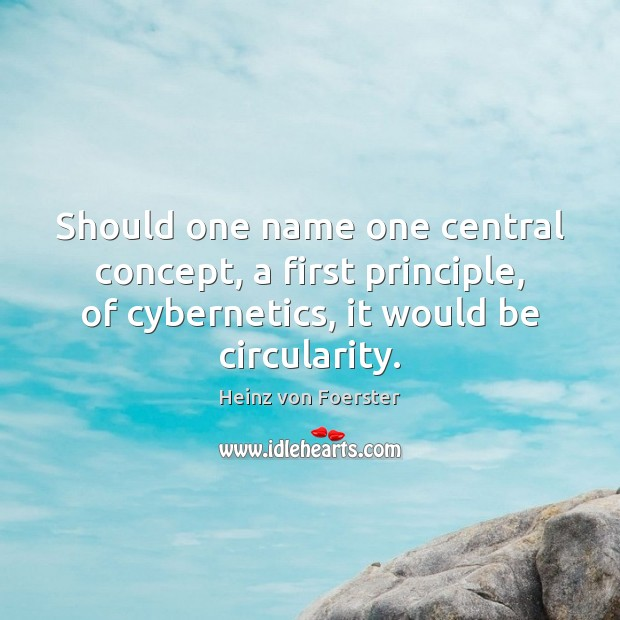 Should one name one central concept, a first principle, of cybernetics, it Image
