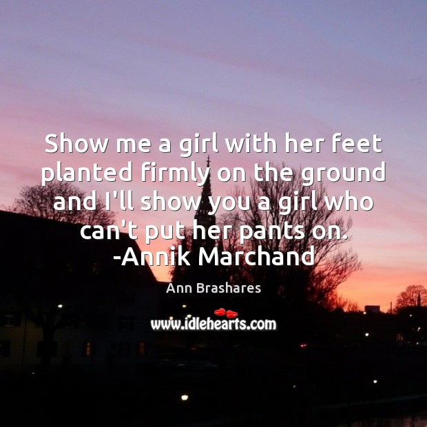 Show me a girl with her feet planted firmly on the ground Image