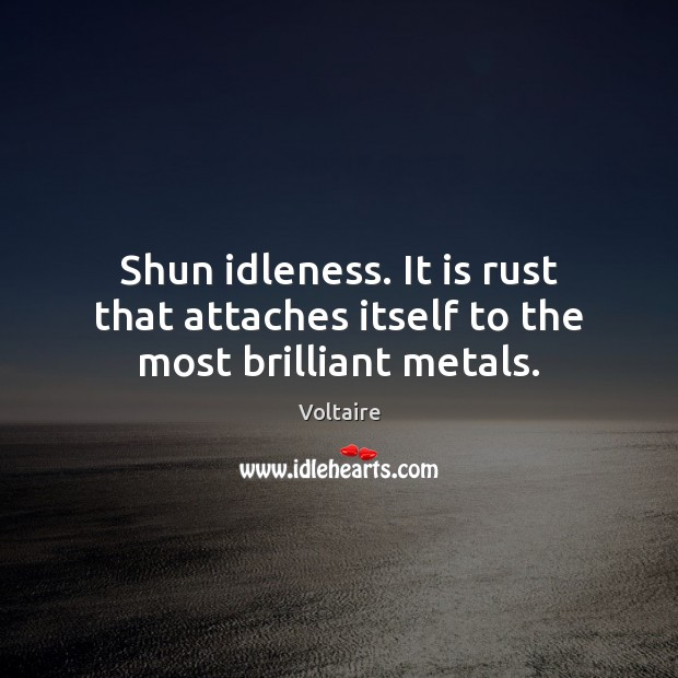 Image, Shun idleness. It is rust that attaches itself to the most brilliant metals.