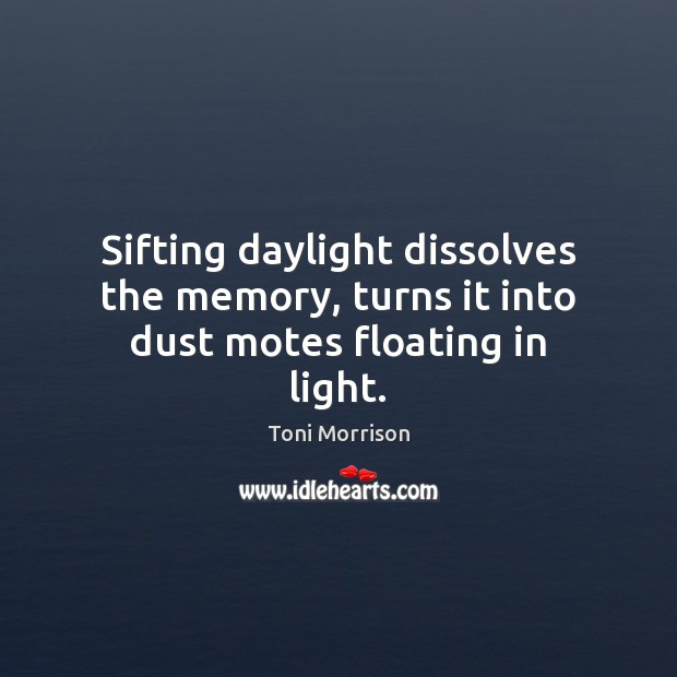 Sifting daylight dissolves the memory, turns it into dust motes floating in light. Toni Morrison Picture Quote