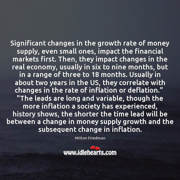 Significant changes in the growth rate of money supply, even small ones, Growth Quotes Image