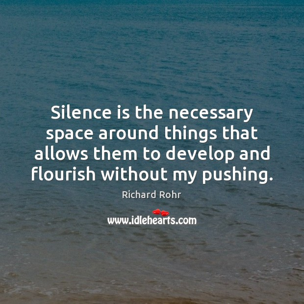 Silence is the necessary space around things that allows them to develop Richard Rohr Picture Quote