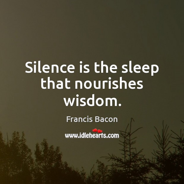 Silence is the sleep that nourishes wisdom. Image