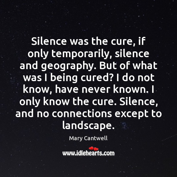 Silence was the cure, if only temporarily, silence and geography. But of Image