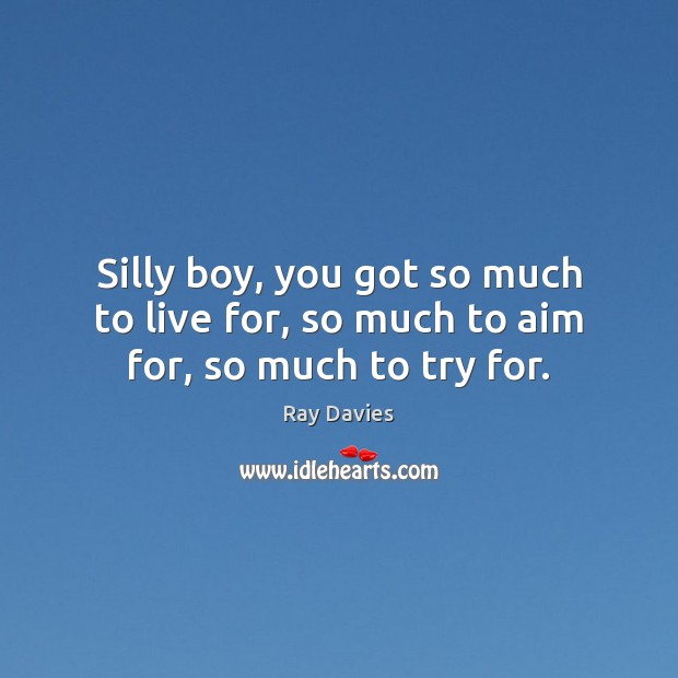 Silly boy, you got so much to live for, so much to aim for, so much to try for. Ray Davies Picture Quote