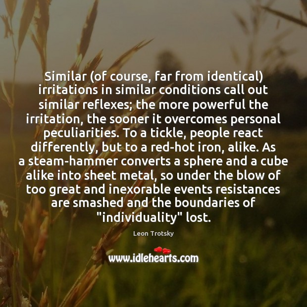 Similar (of course, far from identical) irritations in similar conditions call out Leon Trotsky Picture Quote