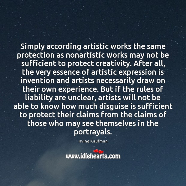 Simply according artistic works the same protection as nonartistic works may not Image