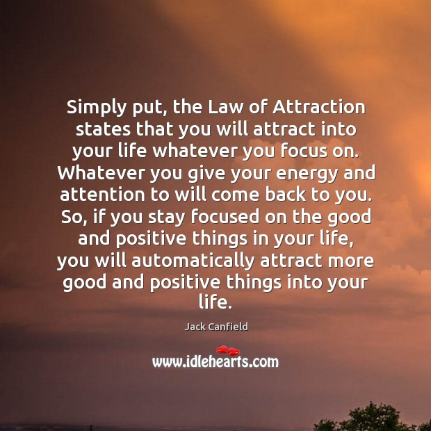 Image, Simply put, the Law of Attraction states that you will attract into