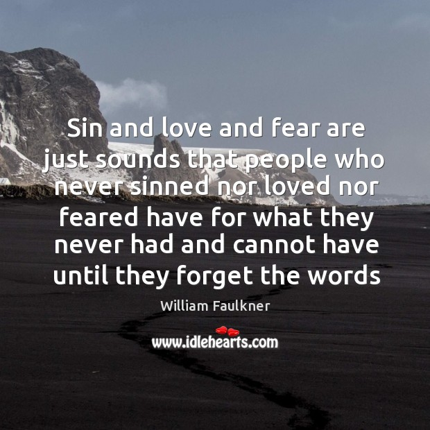 Image, Sin and love and fear are just sounds that people who never