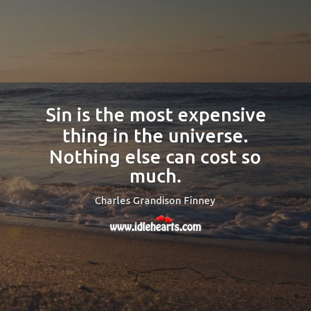 Sin is the most expensive thing in the universe. Nothing else can cost so much. Charles Grandison Finney Picture Quote