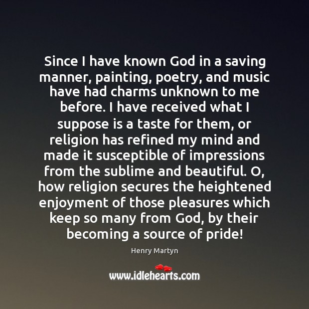 Since I have known God in a saving manner, painting, poetry, and Image