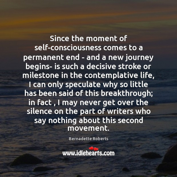 Since the moment of self-consciousness comes to a permanent end – and Image