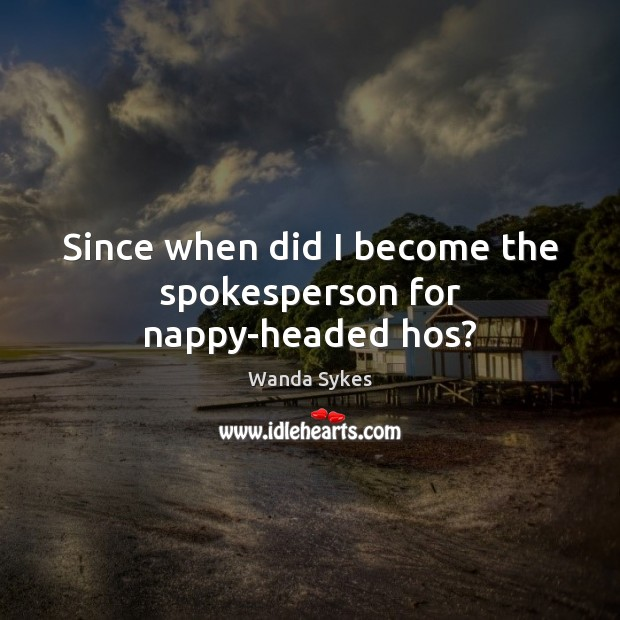 Since when did I become the spokesperson for nappy-headed hos? Wanda Sykes Picture Quote
