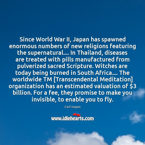 Image, Since World War II, Japan has spawned enormous numbers of new religions