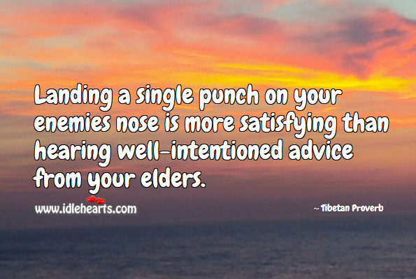 Landing a single punch on your enemies nose is more satisfying than hearing well-intentioned advice from your elders. Tibetan Proverbs Image