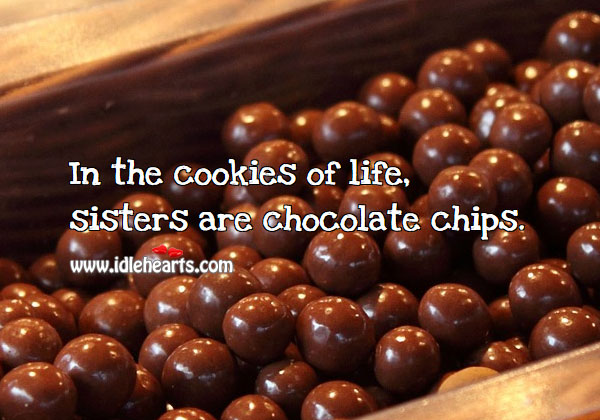 Image, In the cookies of life, sisters are chocolate chips.