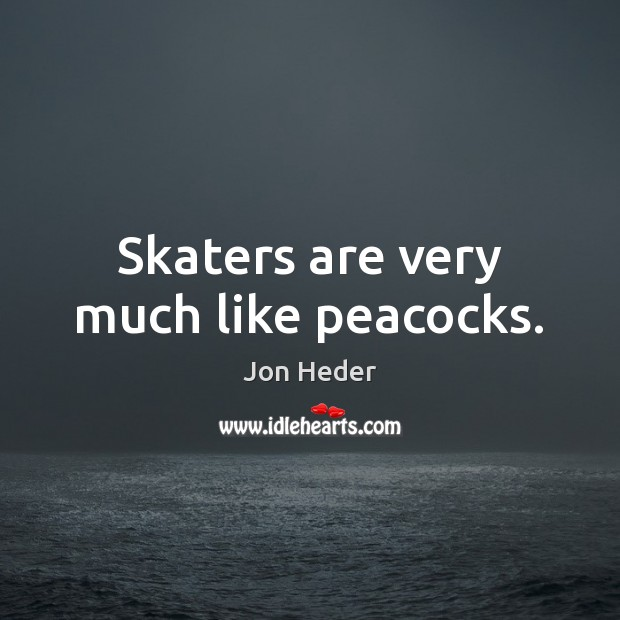 Skaters are very much like peacocks. Jon Heder Picture Quote