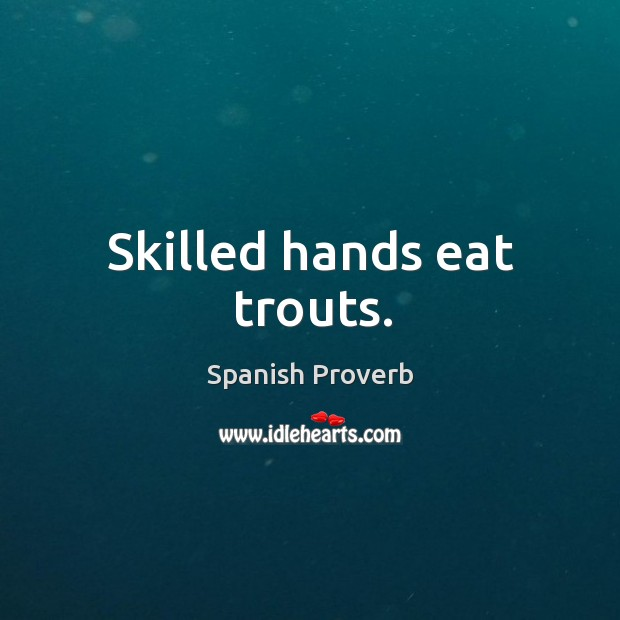 Image, Skilled hands eat trouts.