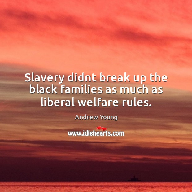 Image, Slavery didnt break up the black families as much as liberal welfare rules.