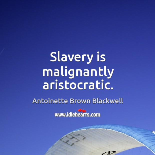 Image, Slavery is malignantly aristocratic.