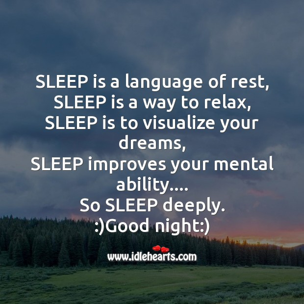 Sleep is a language of rest Image