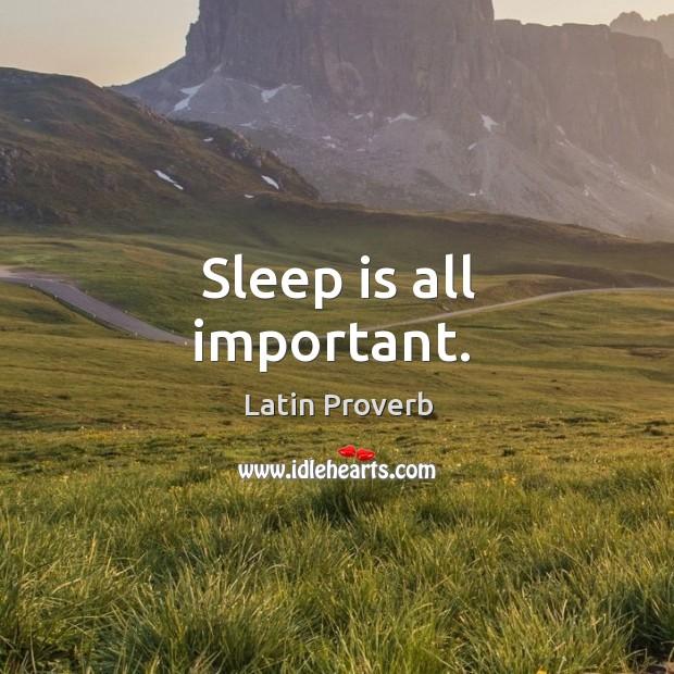 Image, Sleep is all important.