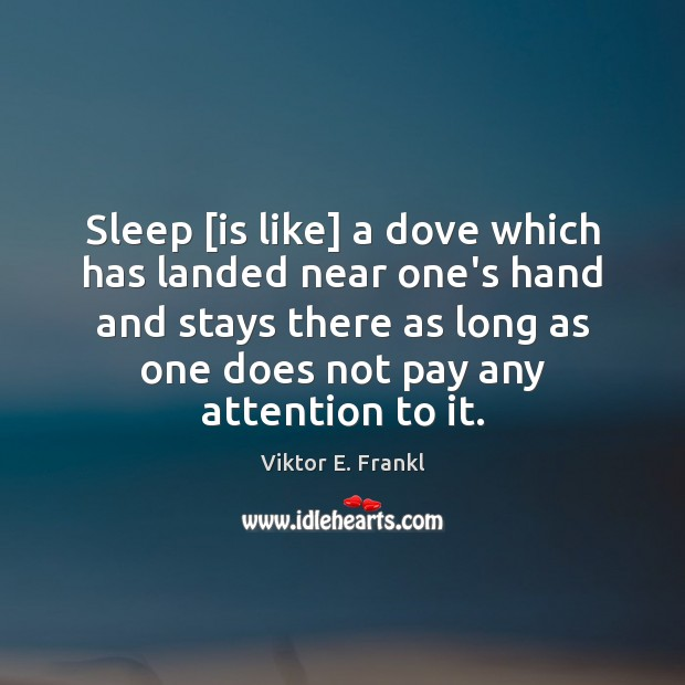 Sleep [is like] a dove which has landed near one's hand and Image