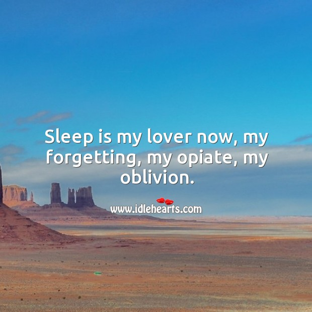 Sleep is my lover now, my forgetting, my opiate, my oblivion. Image