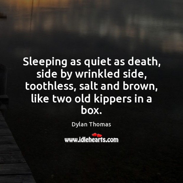 Sleeping as quiet as death, side by wrinkled side, toothless, salt and Dylan Thomas Picture Quote