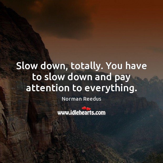 Slow down, totally. You have to slow down and pay attention to everything. Image
