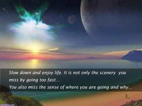 By going fast you miss the sense of where you're going Image