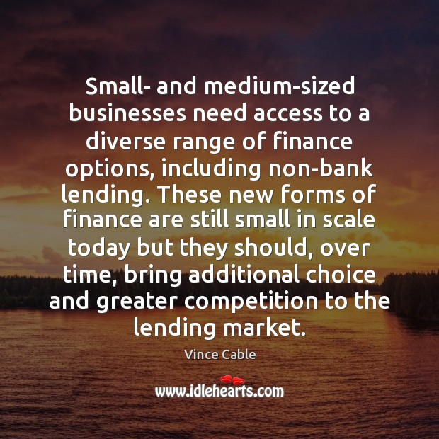 Image, Small- and medium-sized businesses need access to a diverse range of finance