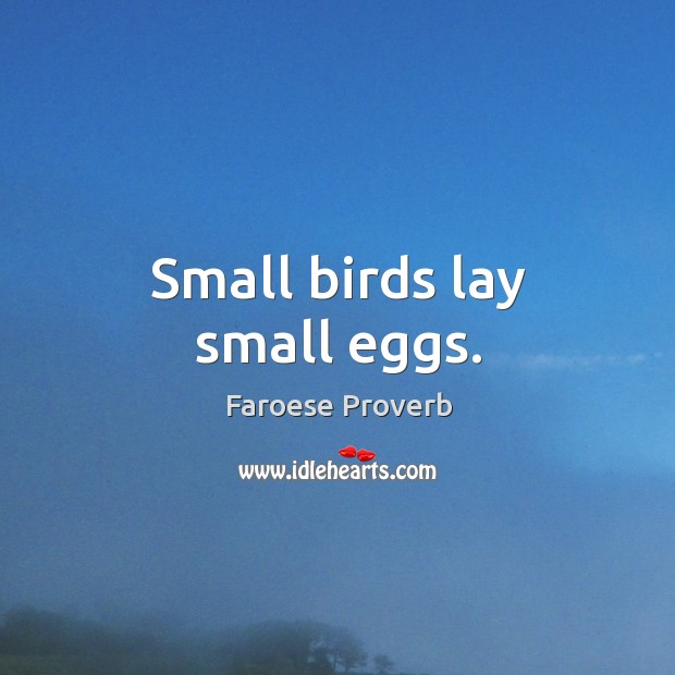 Small birds lay small eggs. Faroese Proverbs Image