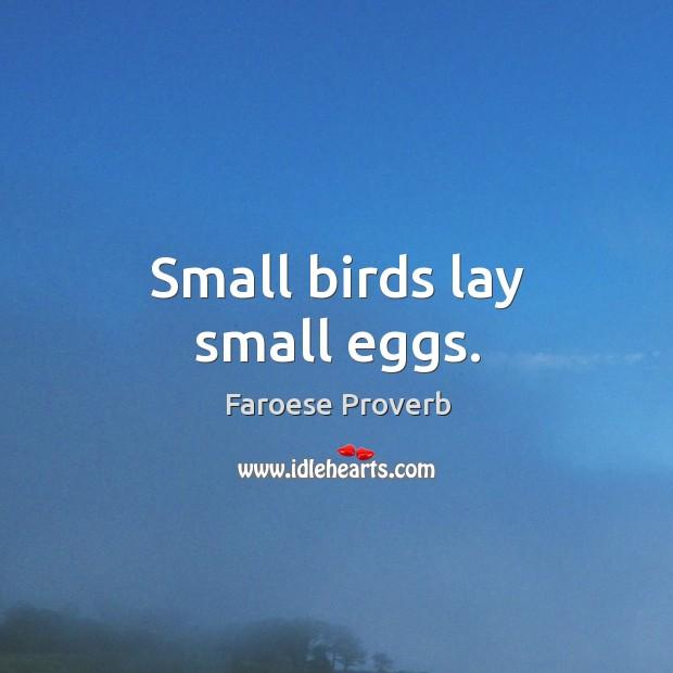 Small birds lay small eggs. Faroese Proverbs Image