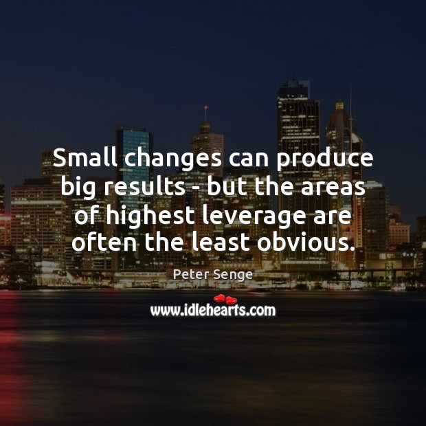 Small changes can produce big results – but the areas of highest Peter Senge Picture Quote