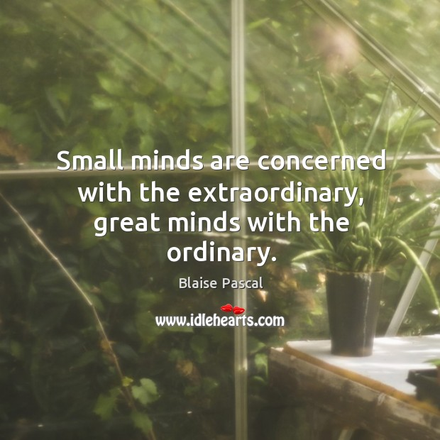 Image, Small minds are concerned with the extraordinary, great minds with the ordinary.
