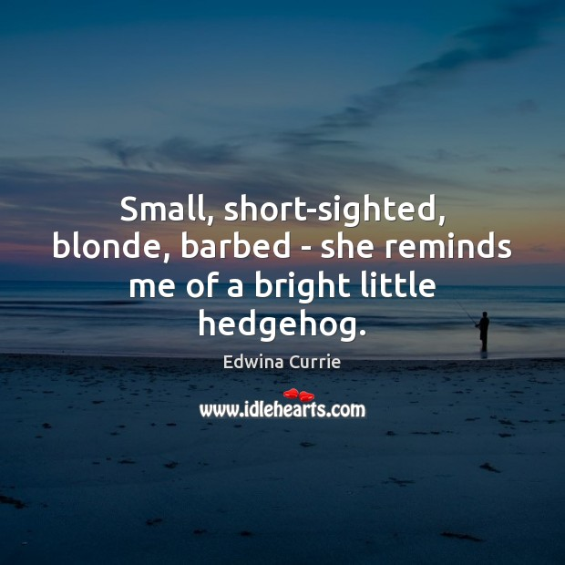 Image, Small, short-sighted, blonde, barbed – she reminds me of a bright little hedgehog.