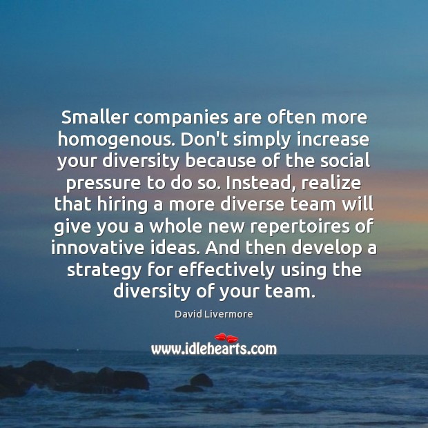 Image, Smaller companies are often more homogenous. Don't simply increase your diversity because