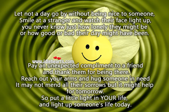 Image, Smile at a stranger and light up someone's day
