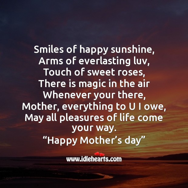 Smiles of happy sunshine Mother's Day Messages Image