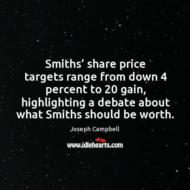 Smiths' share price targets range from down 4 percent to 20 gain, highlighting a debate about what smiths should be worth. Image
